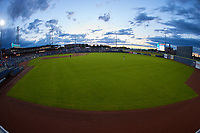 A wide angle view of Atrium Health Ballpark during the minor league baseball game between the Down East Wood Ducks and the Kannapolis Cannon Ballers on May 5, 2021 in Kannapolis, North Carolina. (Brian Westerholt/Four Seam Images)