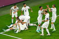 Nicolo Barella of Italy celebrates with team mates after scoring the goal of 0-1 during the Uefa Euro 2020 round of 8 football match between Belgium and Italy at football arena in Munich (Germany), July 2nd, 2021. Photo Matteo Ciambelli / Insidefoto