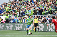 SEATTLE, WA - NOVEMBER 10: Brad Smith #11 of the Seattle Sounders FC plays the ball during a game between Toronto FC and Seattle Sounders FC at CenturyLink Field on November 10, 2019 in Seattle, Washington.