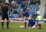 Dean Shiels appeals to the ref after being taken out on the touchline in the final minute