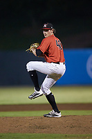 Kannapolis Intimidators relief pitcher Declan Cronin (40) in action against the Hagerstown Suns at Kannapolis Intimidators Stadium on August 27, 2019 in Kannapolis, North Carolina. The Intimidators defeated the Suns 5-4. (Brian Westerholt/Four Seam Images)