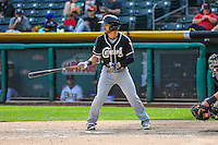 Carlos Asuaje (2) of the El Paso Chihuahuas at bat against the Salt Lake Bees in Pacific Coast League action at Smith's Ballpark on April 24, 2016 in Salt Lake City, Utah. This was Game 2 of a double-header.  Salt Lake defeated El Paso 6-5. (Stephen Smith/Four Seam Images)