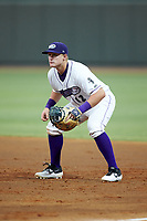Winston-Salem Dash first baseman Andrew Vaughn (12) on defense against the Lynchburg Hillcats at BB&T Ballpark on August 1, 2019 in Winston-Salem, North Carolina. The Dash defeated the Hillcats 9-7. (Brian Westerholt/Four Seam Images)