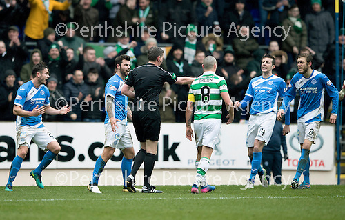 St Johnstone v Celtic…05.02.17     SPFL    McDiarmid Park<br />Keith Watson, Richie Foster, Joe Shaughnessy and Murray Davidson react as referee Craig Thomson points to the penalty spot<br />Picture by Graeme Hart.<br />Copyright Perthshire Picture Agency<br />Tel: 01738 623350  Mobile: 07990 594431