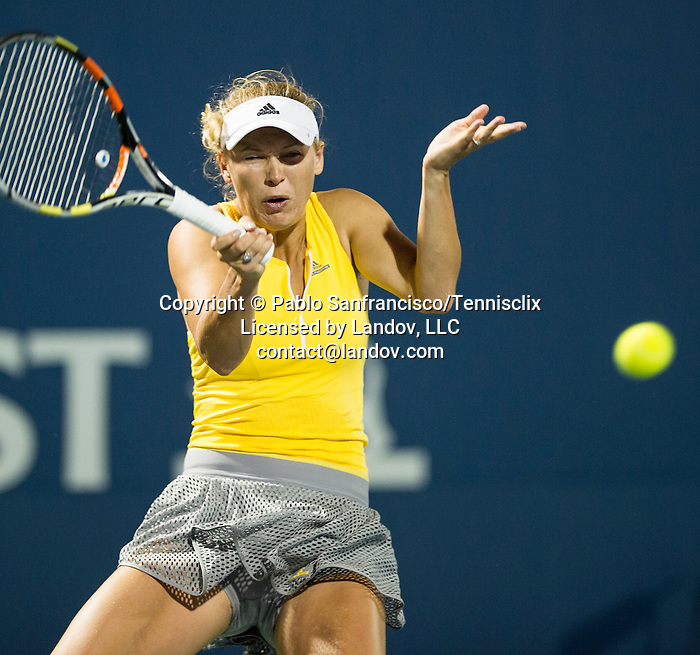 Caroline Wozniacki (DEN) during her Round of 16 match against Varvara Lepchenko (USA) at the Bank of the West Classic in Stanford, CA on August 6, 2015. Lepchenko upset a deflated Wozniacki by 64 62