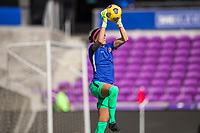 ORLANDO, FL - FEBRUARY 24: Stephanie Labbé #1 of the CANWNT warming up before a game between Brazil and Canada at Exploria Stadium on February 24, 2021 in Orlando, Florida.
