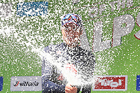 21st April 2021; Imst, Austria;  Cycling Tour des Alpes Stage 3,  Imst in Austria to Naturns/Naturno, Italy; Gianni Moscon Ineos Grenadiers celebrates his stage win on the podium