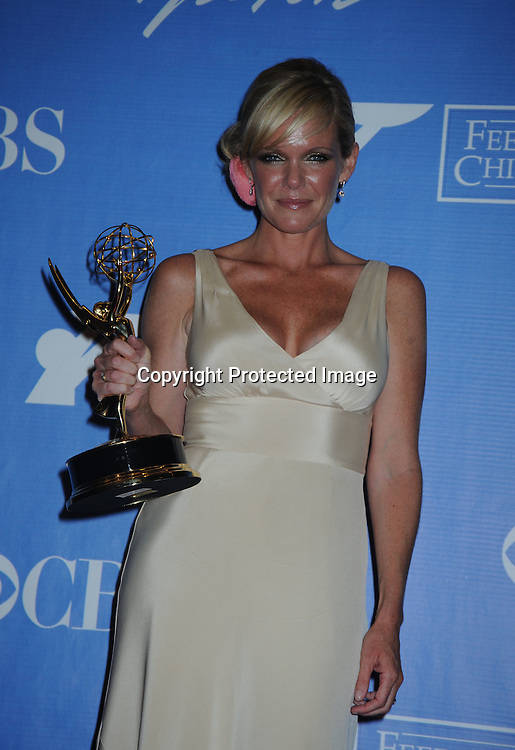 winner for best actress Maura West  posing in the press room from the Daytime Emmy Awards on June 27, 2010 at the Hilton at Las Vegas in Nevada.