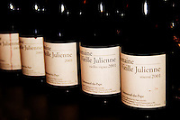 Bottles of Domaine Vieille Julienne Viellies Vignes and Reserve 2001, Chateauneuf-du-Pape, Vaucluse, Provence, France, Europe