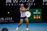 9th February 2021, Melbourne, Victoria, Australia; Ashleigh Barty of Australia returns the ball during round 1 of the 2021 Australian Open on February 9 2020, at Melbourne Park in Melbourne, Australia.