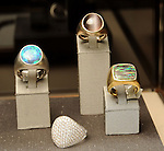 Some of the pieces at a VIP preview event for David Yurman's Meteorite Collection Tuesday Oct. 29,2013.  (Dave Rossman photo)