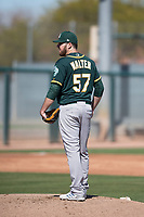 Oakland Athletics pitcher Corey Walter (57) during Spring Training Camp on February 24, 2018 at Lew Wolff Training Complex in Mesa, Arizona. (Zachary Lucy/Four Seam Images)