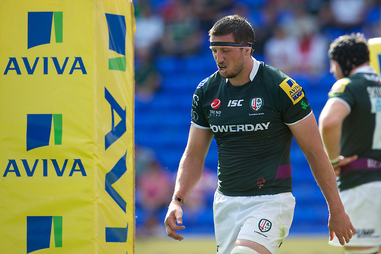 Declan Danaher of London Irish looks dejected after Gloucester score a try during the Aviva Premiership match between London Irish and Gloucester Rugby at the Madejski Stadium on Saturday 8th September 2012 (Photo by Rob Munro)