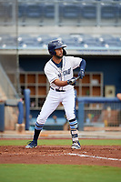 Charlotte Stone Crabs Garrett Whitley (16) squares to bunt during a Florida State League game against the Bradenton Maruaders on August 7, 2019 at Charlotte Sports Park in Port Charlotte, Florida.  Charlotte defeated Bradenton 3-2 in the second game of a doubleheader.  (Mike Janes/Four Seam Images)