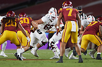 LOS ANGELES, CA - SEPTEMBER 11: Branson Bragg #66 of the Stanford Cardinal looks to block during a game between University of Southern California and Stanford Football at Los Angeles Memorial Coliseum on September 11, 2021 in Los Angeles, California.