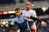 Harrison, NJ - Wednesday Feb. 22, 2017: Kyle Greig, Aurelien Collin during a Scotiabank CONCACAF Champions League quarterfinal match between the New York Red Bulls and the Vancouver Whitecaps FC at Red Bull Arena.