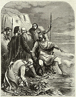 KING CNUT , CANUTE  King of England (1016-35) and Denmark (1018-35) getting his feet wet / Engraving by Pearson in The Welcome 1880 / -1035