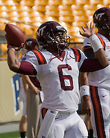Virginia Tech quarterback Mark Leal. The Pitt Panthers defeated the Virginia Tech Hokies 35-17 at Heinz field in Pittsburgh, PA on September 15, 2012.