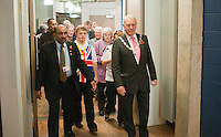 """Local dignitaries are met by the charity's officers and two of the athletes.  Special Olympics Surrey put on a show,   """"Beyond the Stars"""", at the Rose Theatre, Kingston upon Thames to raise money for the  SOGB team.  The Special Olympics are for athletes with learning disabilities."""