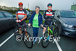 Ready for their cycle for the Samartians and Kerry Hospice fundraiser at John Mitchels on Saturday morning, l to r: Terry Culloty (Tralee Chain Gang), Mary Shanahan (Samartians) and Colin Stack (Tralee Chain Gang).
