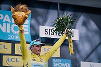 overall leader Luis Leon Sanchez (ESP/Astana)<br /> <br /> 76th Paris-Nice 2018<br /> stage 5: Salon-de-Provence > Sisteron (165km)