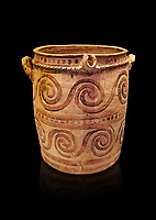 Minoan  bridge spouted jars decorated with swirls, Archanes Palace  1600-1450 BC; Heraklion Archaeological  Museum, black background.