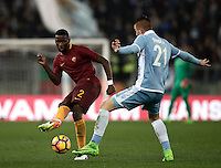 Calcio, Serie A: Roma, stadio Olimpico, 1marzo 2017.<br /> Roma's Antonio Rudiger (l) in action with Lazio's Sergej Milinkovic (r) during the Italian TIM Cup 1st leg semifinal football match between Lazio and AS Roma at Rome's Olympic stadium, on March 1, 2017.<br /> UPDATE IMAGES PRESS/Isabella Bonotto