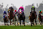 ARCADIA, CA - MARCH 10: Bowies Hero #2, with Corey Nakatani aboard defeats Next Share #3, with Rajiv Maragh to win the Frank E. Kilroe Mile Stakes at Santa Anita Park on March 10, 2018 in Arcadia, California. (Photo by Alex Evers/Eclipse Sportswire/Getty Images)