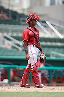 GCL Red Sox catcher Jonathan Diaz (7) during a game against the GCL Orioles on August 9, 2018 at JetBlue Park in Fort Myers, Florida.  GCL Red Sox defeated GCL Orioles 10-4.  (Mike Janes/Four Seam Images)