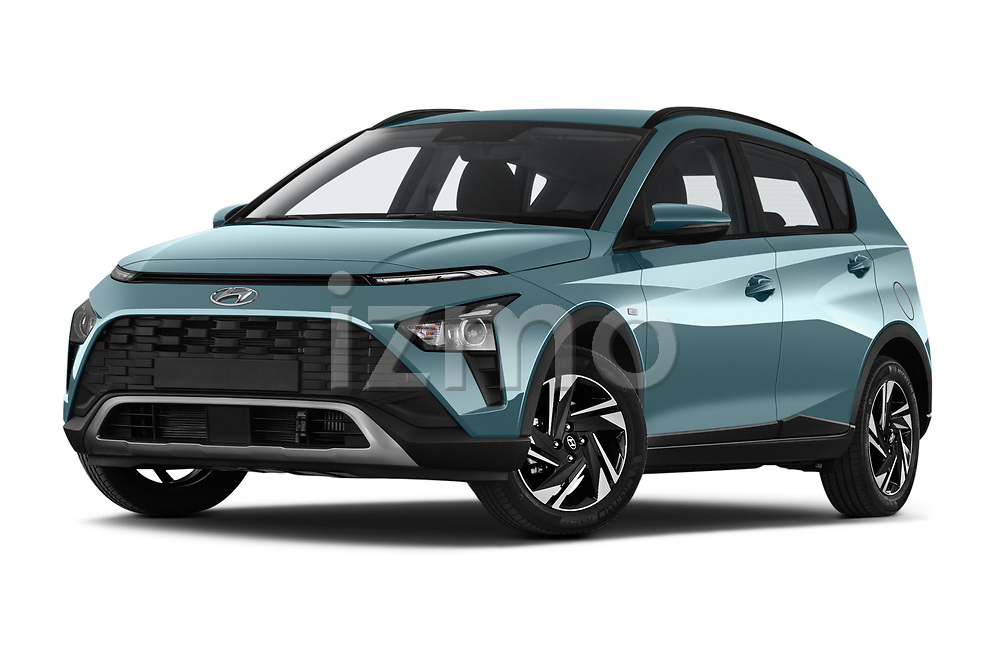 Stock pictures of low aggressive front three quarter view of 2021 Hyundai Bayon Techno 5 Door SUV Low Aggressive