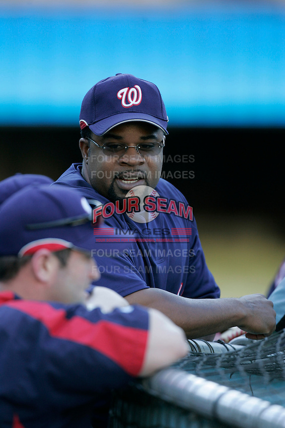 Lenny Harris of the Washington Nationals during batting practice before a game from the 2007 season at Dodger Stadium in Los Angeles, California. (Larry Goren/Four Seam Images)
