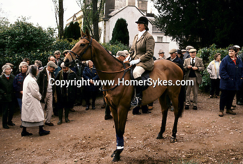 West Bagborough, Somerset. 1997<br /> Quantock StagHounds hunt followers at the Lawn Meet, in the grounds of Bagborough House. It's the last days hunt of the season.