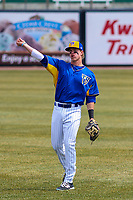 Wisconsin Timber Rattlers second baseman Tucker Neuhaus (19) warms up prior to a Midwest League game against the Quad Cities River Bandits on April 9, 2017 at Fox Cities Stadium in Appleton, Wisconsin.  Quad Cities defeated Wisconsin 17-11. (Brad Krause/Four Seam Images)