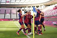 KASHIMA, JAPAN - AUGUST 5: Megan Rapinoe #15 of the United States celebrates scoring with teammates during a game between Australia and USWNT at Kashima Soccer Stadium on August 5, 2021 in Kashima, Japan.