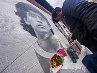 NEW YORK, UNITED STATES - NOVEMBER 25: Flowers are placed by a Mural of Diego Maradona on November 25 2020 in New York. The Argentine soccer legend died at the age of 60, his spokesman announced(Photo by Eduardo Munoz/VIEWpress via Getty Images)