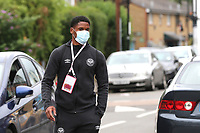 Julian Jeanvier of Brentford arrives at the ground ahead of kick-off wearing his face mask during Brentford vs Wigan Athletic, Sky Bet EFL Championship Football at Griffin Park on 4th July 2020