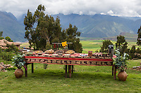 Peru, Urubamba Valley, Quechua Village of Misminay.  Cultural Tourism.  Villagers Display Local Agricultural  Products.