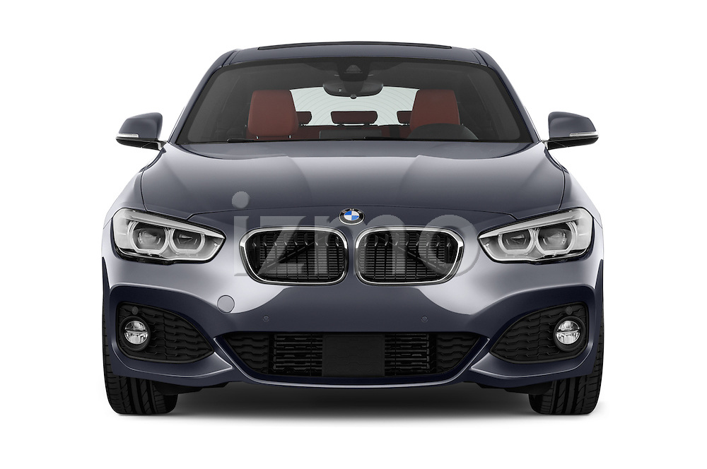 Car photography straight front view of a 2015 BMW 1 Series M Sport 3 Door Hatchback Front View