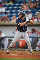 Jacksonville Jumbo Shrimp first baseman Eric Jagielo (25) at bat during a game against the Pensacola Blue Wahoos on August 15, 2018 at Blue Wahoos Stadium in Pensacola, Florida.  Jacksonville defeated Pensacola 9-2.  (Mike Janes/Four Seam Images)