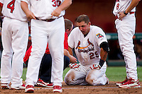 Travis Tartamella (29) of the Springfield Cardinals kneels on the ground after being hit in the face by a pitch during a game against the Arkansas Travelers at Hammons Field on July 25, 2012 in Springfield, Missouri. (David Welker/Four Seam Images)