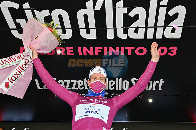 French Champion Arnaud Demare (FRA) Groupama-FDJ retains the points Maglia Ciclamino at the end of Stage 13 of the 103rd edition of the Giro d'Italia 2020 running 192km from Cervia to Monselice, Italy. 16th October 2020.   <br /> Picture: LaPresse/Massimo Paolone | Cyclefile<br /> <br /> All photos usage must carry mandatory copyright credit (© Cyclefile | LaPresse/Massimo Paolone)