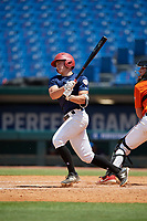 Justin Szestowicki (7) of Kingsway High School in Mount Royal, NJ during the Perfect Game National Showcase at Hoover Metropolitan Stadium on June 19, 2020 in Hoover, Alabama. (Mike Janes/Four Seam Images)