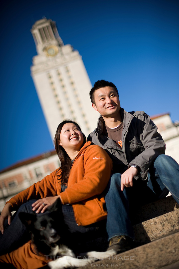 Engagement portraits of Grace Ting and Mo Taing photographed on campus at The University of Texas in Austin, TX.