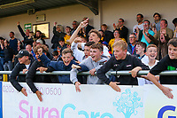 9th October 2021;  VBS Community Stadium, Sutton, London; EFL League 2 football, Sutton United versus Port Vale 9th October 2021; Young Sutton United fans celebrate their team scoring.