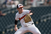Oregon State Beavers relief pitcher Dylan Pearce (49) delivers a pitch during a game against the New Mexico Lobos on February 15, 2019 at Surprise Stadium in Surprise, Arizona. Oregon State defeated New Mexico 6-5. (Zachary Lucy/Four Seam Images)