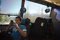Sergio Henao (COL/SKY) waiting for his teammates to get back to the teambus after the stage<br /> <br /> stage 20: San Lorenzo de el Escorial - Cercedilla (176km)<br /> 2015 Vuelta à Espana