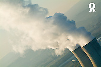 France, Rhone, Tricastin Nuclear Power plant, smoke emitting from cooling towers, aerial view (Licence this image exclusively with Getty: http://www.gettyimages.com/detail/sb10068805o-001 )