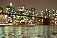 AVAILABLE FROM JEFF AS A FINE ART PRINT.<br /> <br /> AVAILABLE FOR COMMERCIAL AND EDITORIAL LICENSING FROM PLAINPICTURE.  Please got to www.plainpicture.com and search for image # p5690022.<br /> <br /> Brooklyn Bridge, East River and Lower Manhattan Illuminated at Night, New York City, New York, USA