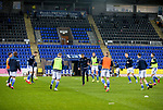 St Johnstone v Livingston…12.12.20   McDiarmid Park      SPFL<br />Fitness coach Alex Headrick leads the warm up<br />Picture by Graeme Hart.<br />Copyright Perthshire Picture Agency<br />Tel: 01738 623350  Mobile: 07990 594431