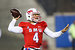 Southern Methodist Mustangs quarterback Matt Davis (4)in action during the game between the South Florida Bulls and the SMU Mustangs at the Gerald J. Ford Stadium in Fort Worth, Texas. USF defeats SMU 14 to 13.